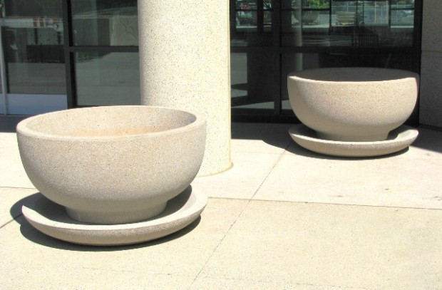 Precast Round Planters with Saucers