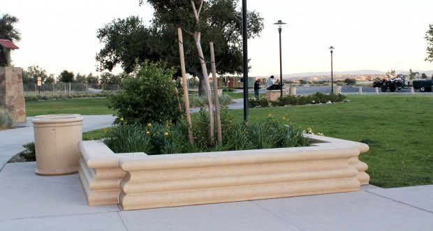 Precast Custom Bench Planter - Camp Robert Rest Stop Area, CA - Universal Precast Concrete, Inc.