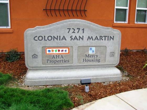Custom Monument Sign with Logos - Colonia San Martin - Sacramento, CA